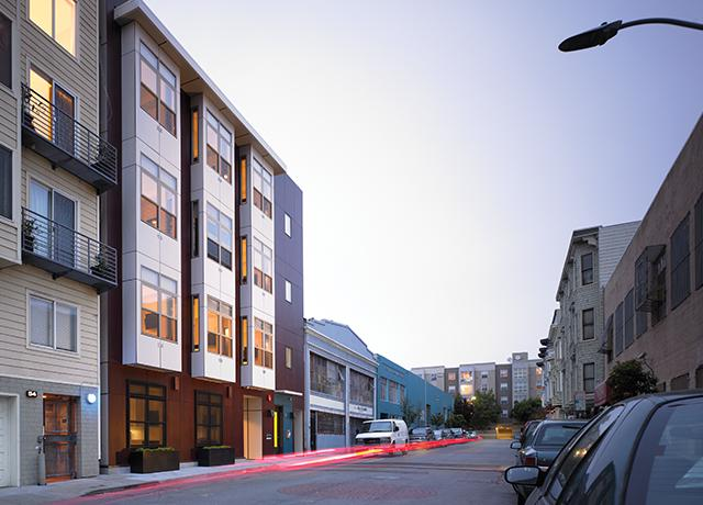 The prefabricated Smartspace SoMa apartment project on San Francisco's Harriet Street was designed by Lowney Architecture of Oakland
