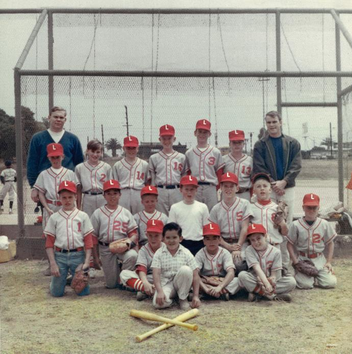 Kevin Nagle (top row, second from the left) handed his coach on the Lifeguards $2 per game to pay off his uniform. (The coach kept his hat as collateral.)